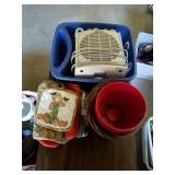 Dish drainer, heater, baskets, pot holders, pots