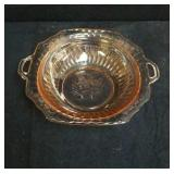 Lovely Pink depression glass bowl with pattern