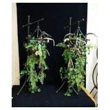 Pair of decorative bird cage floral arrangements