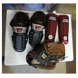 Youth Shin guards, knee guards and catchers mitt