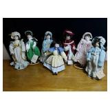 Beautiful grouping of porcelain dolls approx 8
