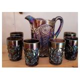 Imperial carnival glass pitcher & glasses