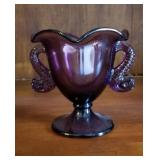 Plum purple handled compote approx 5 inches tall
