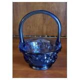 Dark blue glass basket with floral design approx 5