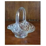 Colorless basket with floral design approx 5