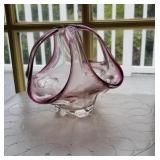 Unique purple & clear art glass basket approx 6