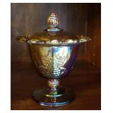 Eye Pleasing Marigold carnival glass compote