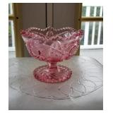 Radiant Pink etched glass footed bowl approx 6