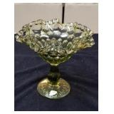 Fenton compote with ruffled edge approx 7 8 inches