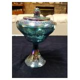 Carnival glass compote with grape and leaf