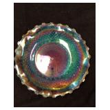 Carnival glass dish approx 10 inches in diameter