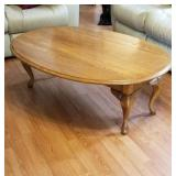 Oak coffee table with fold down sides approx size