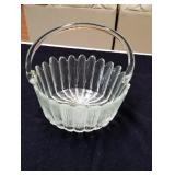 Beautiful glass basket Approx 9 inches tall has a
