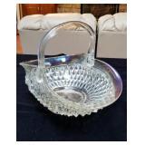 Beautiful TJ glass basket with carnival glass