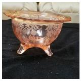 Pretty in pink footed multipurpose glass bowl