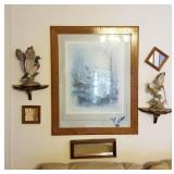 Grand grouping of wall decor including birds,