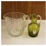 Hand blown Pilgram crackled glass pitcher and
