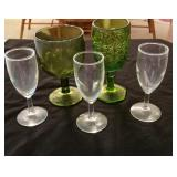 2 green glasses and 3 small stems