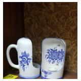 Nice pair of blue and white candleholders