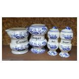 Blue onion creamer & sugar salt & pepper sets