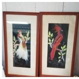 Pair of beautiful bird prints approx size is 10 x