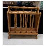Nice wood magazine rack approx 18 inches tall