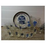 Pabst Blue Ribbon Tin, Pitcher & Glasses