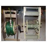 2 Garden hose reels w/ hoses