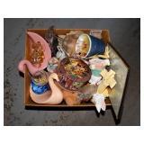 Figurines, glassware,candle, ceramics - box lot