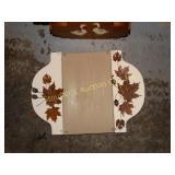 Wood basket w/ metal bunny & wood plaque