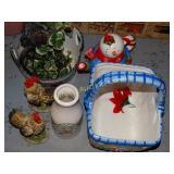 Ceramic snowman teapot & basket, chickens, &