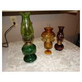 "3 Oil lamps -Amber glass moon & stars 9"", Green"