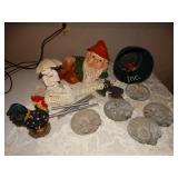 """Garden gnome 12""""L, garden stones & figurine"""