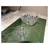 "Shannon crystal dish 6""x 6"" x 4"" w/ glass frog"