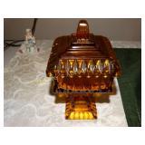 """Amber glass pedestal candy lidded dish 9""""h"""