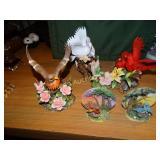 Porcelain bird figurines - cardinals,