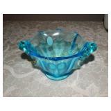 "Fenton blue glass dish 3""h x 4""d"