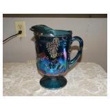 "Blue carnival glass pitcher 9"""