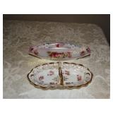 "2 porcelain trays - 1 made in germany 9"" x 4"""