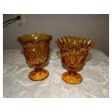 "2 Amber glass moon & stars pedestal glasses 5.5""h"