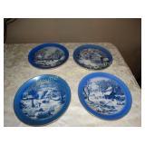 "4 Courier & Ives plates 8.5""d"