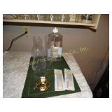 Lamp liquid, 3 glass globes, 2 wicks, & 1 lamp