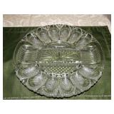 Glass deviled & relish tray 11""