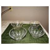 "4 Glass bowls 3"" x 5.5"""