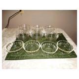 Custard glass dishes - 4 fire king, 3 pyrex & 8