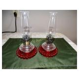 "2 Ruby red glass oil lamps 8.5""h"