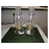 "2 Glass oil lamps 13""h"