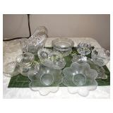 Glass basket w/ metal handle, glass candlestick,