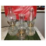 "3 Glass oil lamps (tallest 16""h) 1 marked Queen"