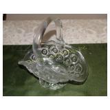 "Glass Moon & stars basket w/ handle 6.5""h"